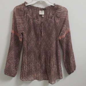 ❤KNOX ROSE sheer floral pleated top, size small